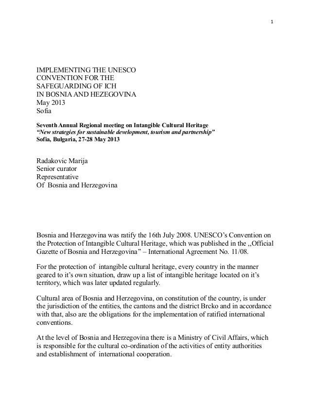1IMPLEMENTING THE UNESCOCONVENTION FOR THESAFEGUARDING OF ICHIN BOSNIAAND HEZEGOVINAMay 2013SofiaSeventh Annual Regional m...