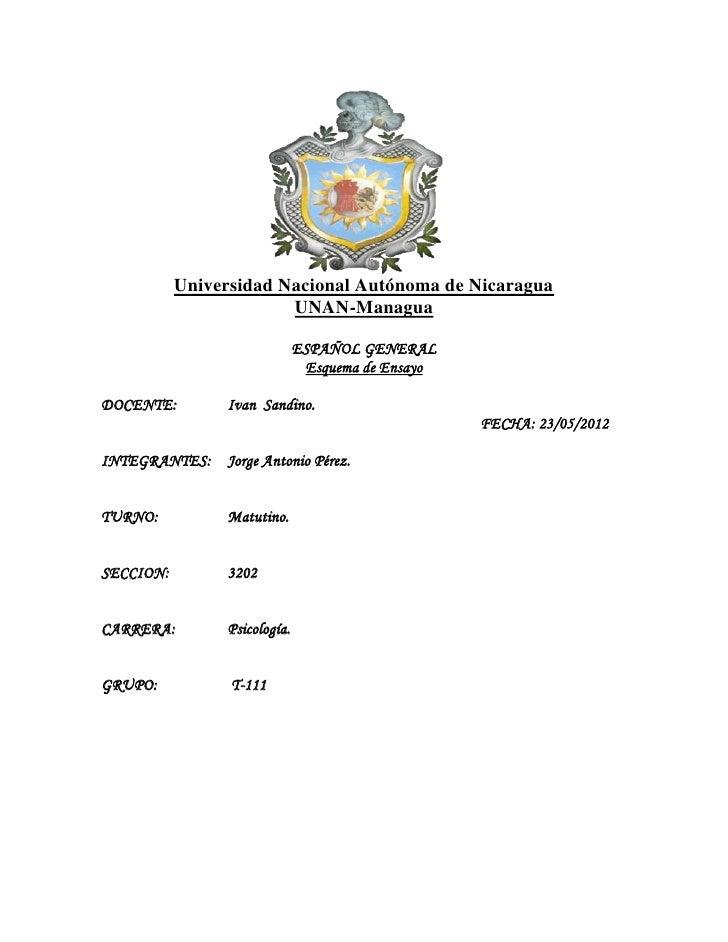 Universidad Nacional Autónoma de Nicaragua                        UNAN-Managua                              ESPAÑOL GENERA...