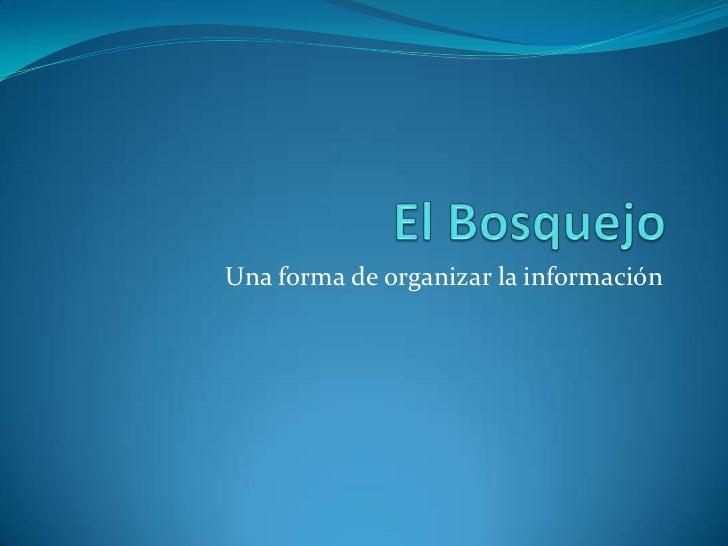 El Bosquejo<br />Una forma de organizar la información<br />