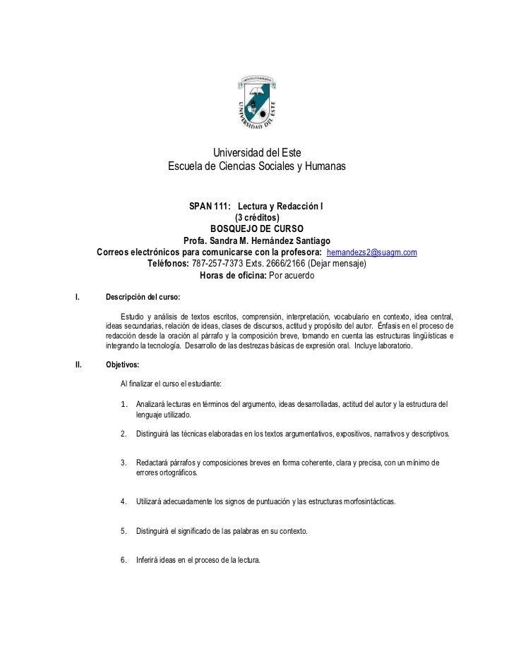 Universidad del Este                            Escuela de Ciencias Sociales y Humanas                            SPAN 111...