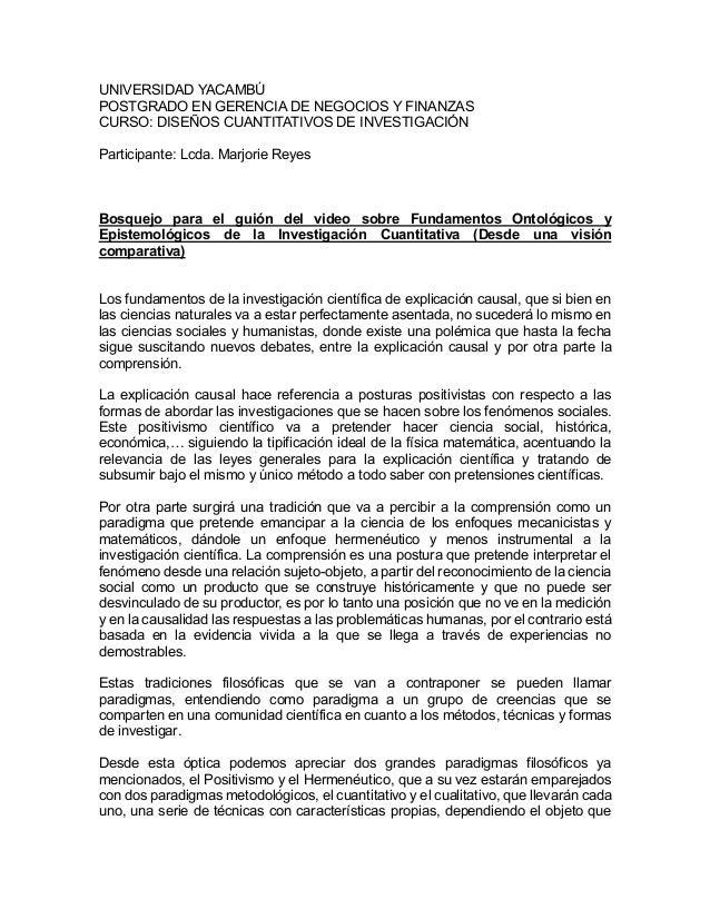 UNIVERSIDAD YACAMBÚ POSTGRADO EN GERENCIA DE NEGOCIOS Y FINANZAS CURSO: DISEÑOS CUANTITATIVOS DE INVESTIGACIÓN Participant...