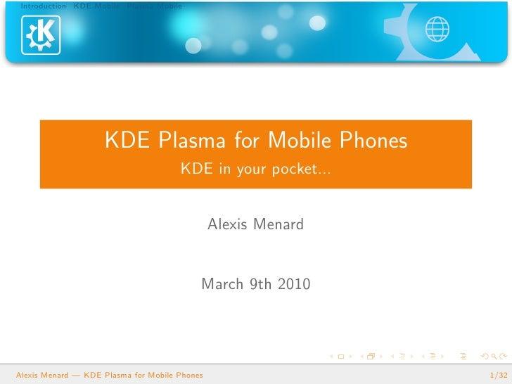 KDE Plasma for Mobile Phones