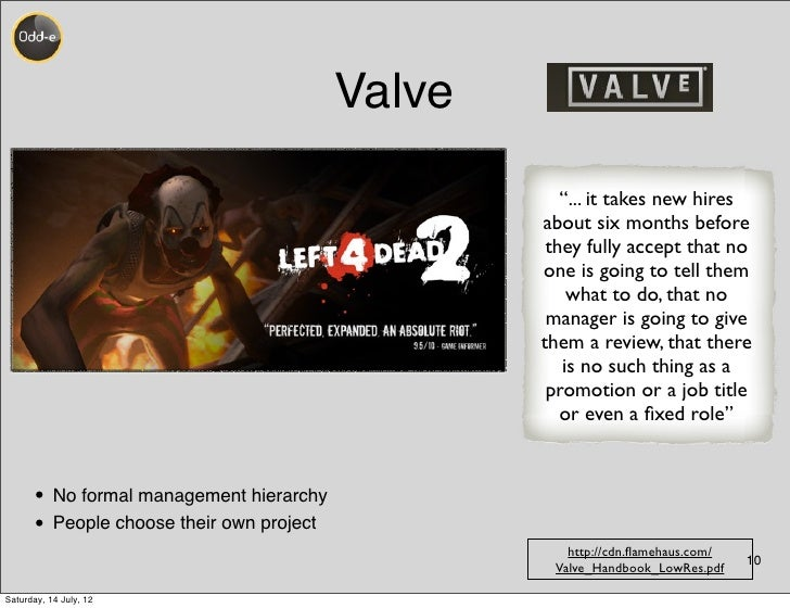 """Valve                                                     """"... it takes new hires                                         ..."""