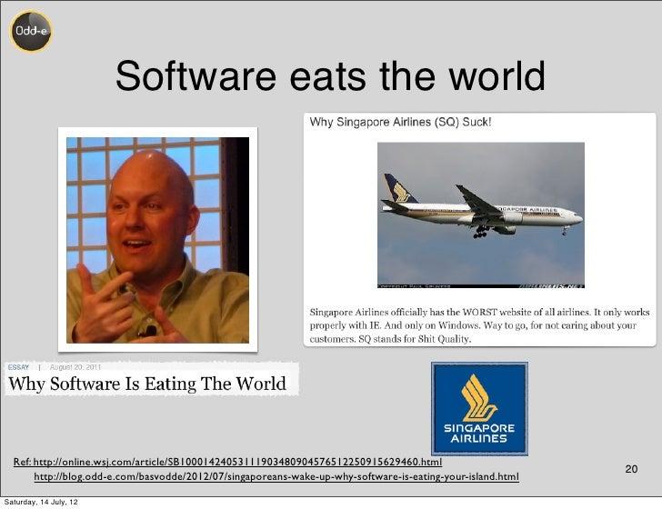 Software eats the world  Ref: http://online.wsj.com/article/SB10001424053111903480904576512250915629460.html              ...