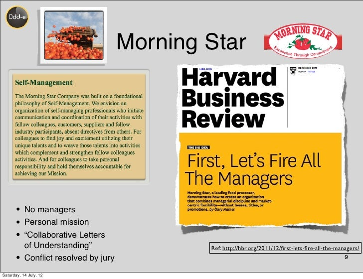 """Morning Star      • No managers      • Personal mission      • """"Collaborative Letters           of Understanding""""         ..."""