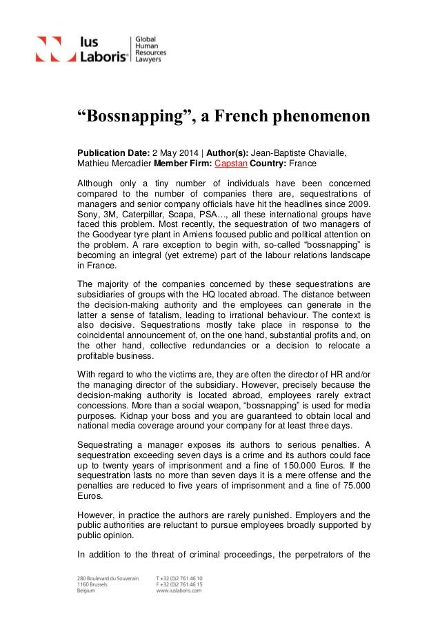 """""""Bossnapping"""", a French phenomenon Publication Date: 2 May 2014 