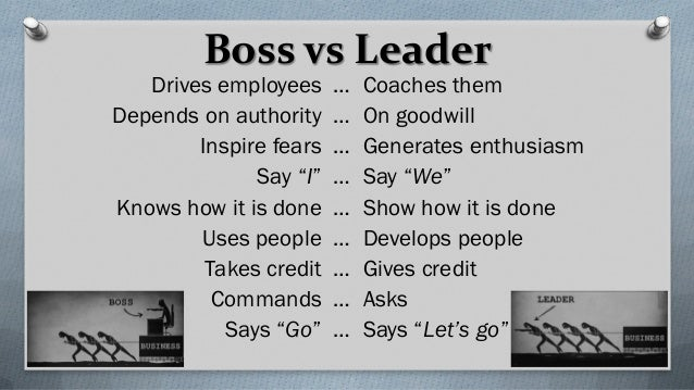 Boss vs Leader Drives employees … Coaches them Depends on authority … On goodwill Inspire fears … Generates enthusiasm Say...