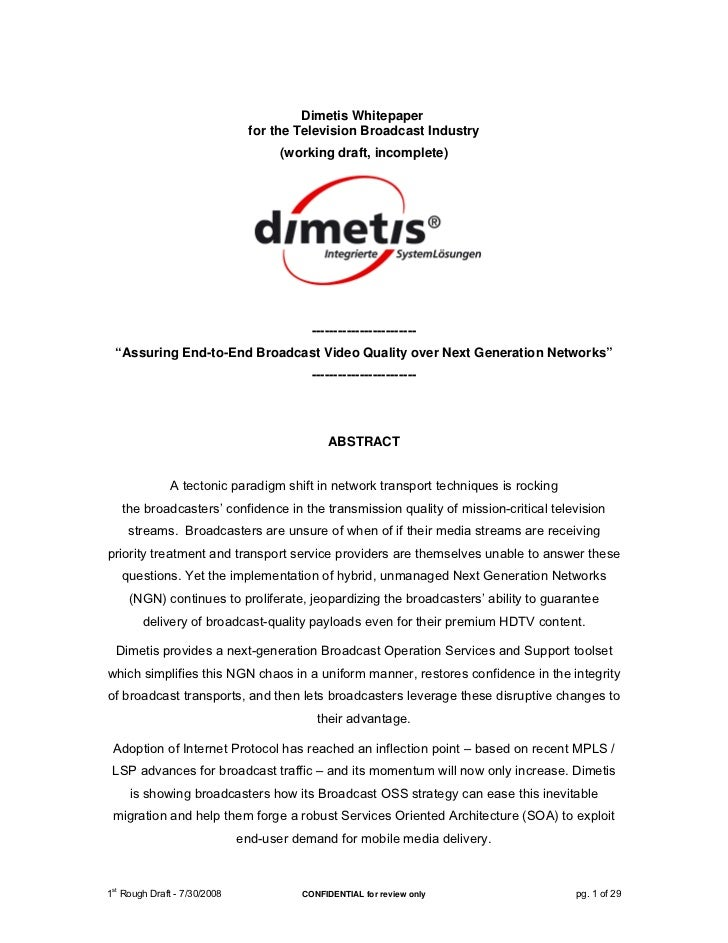 Dimetis Whitepaper                              for the Television Broadcast Industry                                   (w...