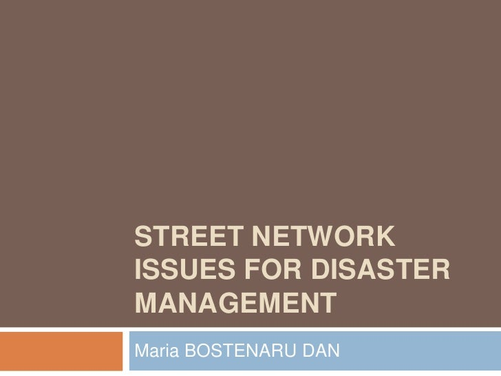 STREET NETWORKISSUES FOR DISASTERMANAGEMENTMaria BOSTENARU DAN