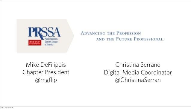 Mike DeFilippis        Christina Serrano                         Chapter President   Digital Media Coordinator            ...