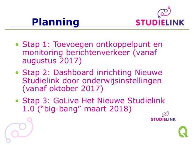 Planning • Stap 1: Toevoegen ontkoppelpunt en monitoring berichtenverkeer (vanaf augustus 2017) • Stap 2: Dashboard inrich...