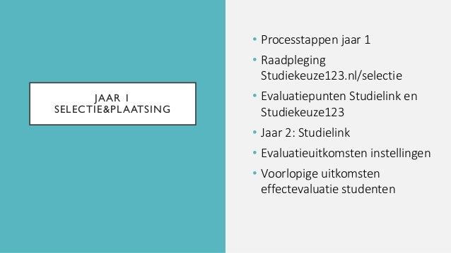 JAAR 1 SELECTIE&PLAATSING • Processtappen jaar 1 • Raadpleging Studiekeuze123.nl/selectie • Evaluatiepunten Studielink en ...