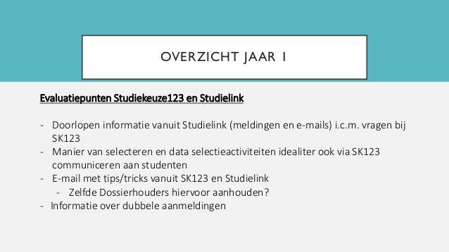 OVERZICHT JAAR 1 Evaluatiepunten Studiekeuze123 en Studielink - Doorlopen informatie vanuit Studielink (meldingen en e-mai...