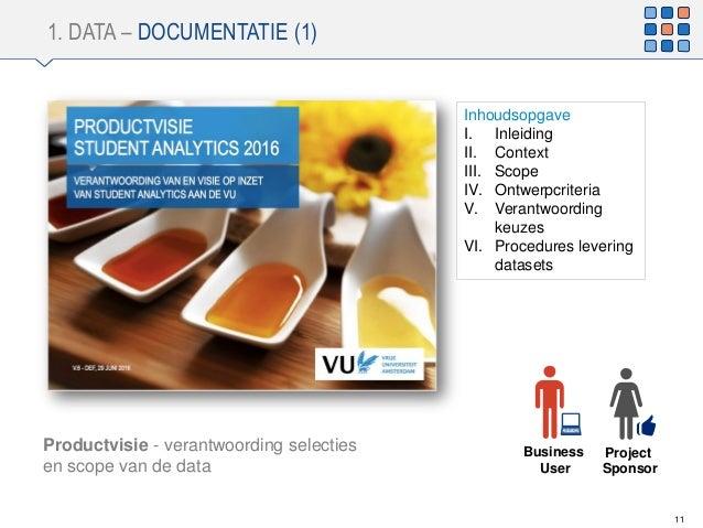 1. DATA – DOCUMENTATIE (1) 11 Productvisie - verantwoording selecties en scope van de data Inhoudsopgave I. Inleiding II. ...