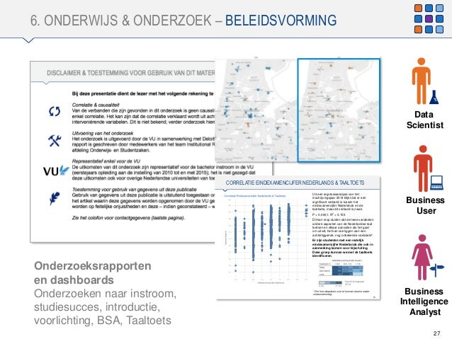 6. ONDERWIJS & ONDERZOEK – BELEIDSVORMING 27 Business User Onderzoeksrapporten en dashboards Onderzoeken naar instroom, st...