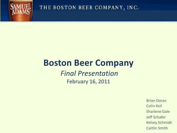 boston beer company case study Brewers in the united states are anheuser-busch and millercoors these two companies enjoy 50 percent and 29 percent market share as the boston beer company.