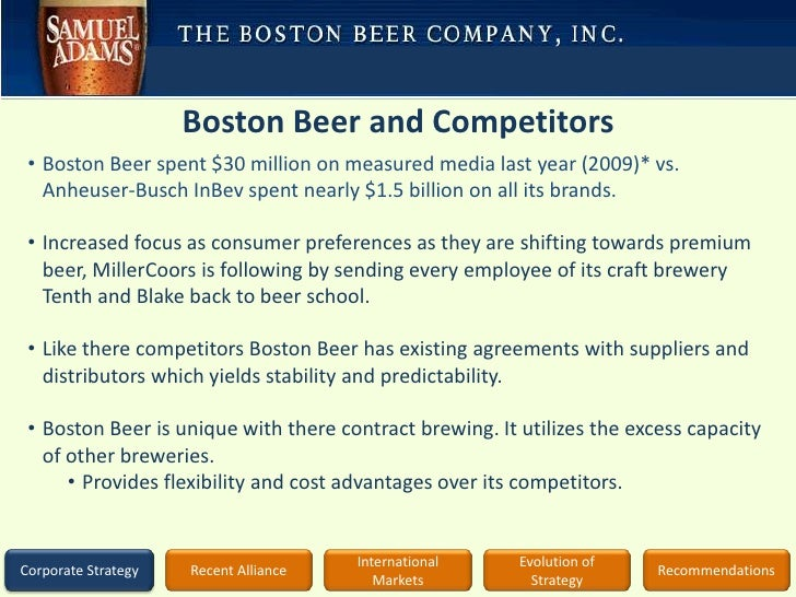 boston beer company 6 essay The boston beer company is mostly known for producing sam adams, sam adams light and other various styles of craft beer in my research, the ratios from chapters 16 and 17 that i could compute was the working capital, current ratio, acid-test ratio, inventory turnover ratio with the average sales period, and the debt to equity ratio.