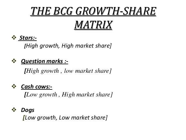 THE BCG GROWTH-SHARE              MATRIX Stars:-    [High growth, High market share] Question marks :-   [High growth , ...
