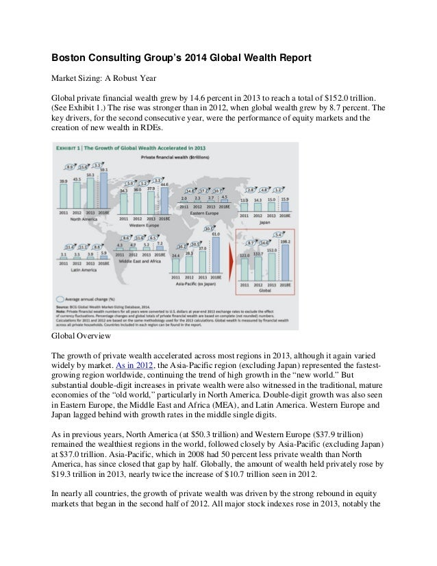 Boston Consulting Group's 2014 Global Wealth Report Market Sizing: A Robust Year Global private financial wealth grew by 1...