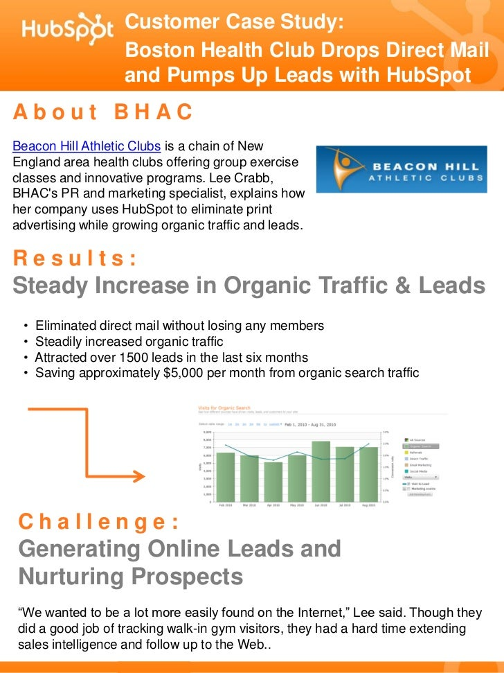 Customer Case Study:                     Boston Health Club Drops Direct Mail                     and Pumps Up Leads with ...