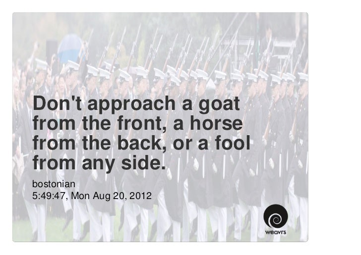 Dont approach a goatfrom the front, a horsefrom the back, or a foolfrom any side.bostonian5:49:47, Mon Aug 20, 2012