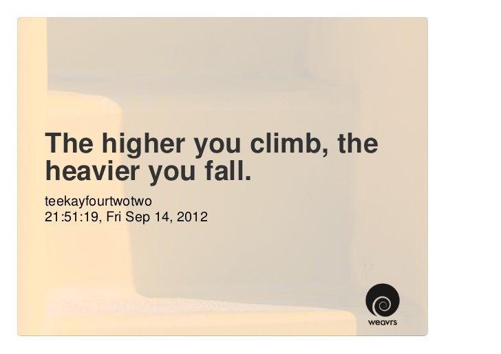 The higher you climb, theheavier you fall.teekayfourtwotwo21:51:19, Fri Sep 14, 2012