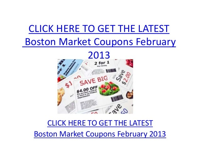 graphic regarding Printable Boston Market Coupons referred to as Boston Market place Coupon codes February 2013 - Printable Boston