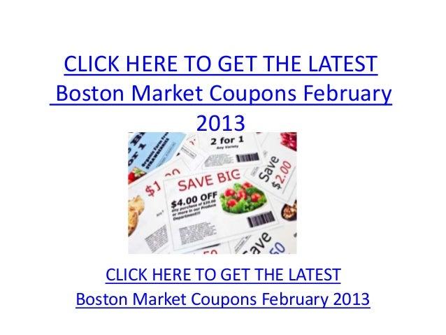 photo relating to Printable Boston Market Coupons identified as Boston Industry Coupon codes February 2013 - Printable Boston