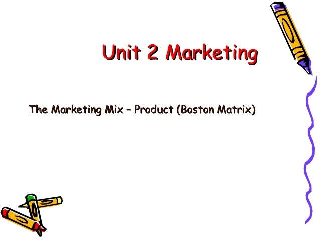 Unit 2 Marketing The Marketing Mix – Product (Boston Matrix)