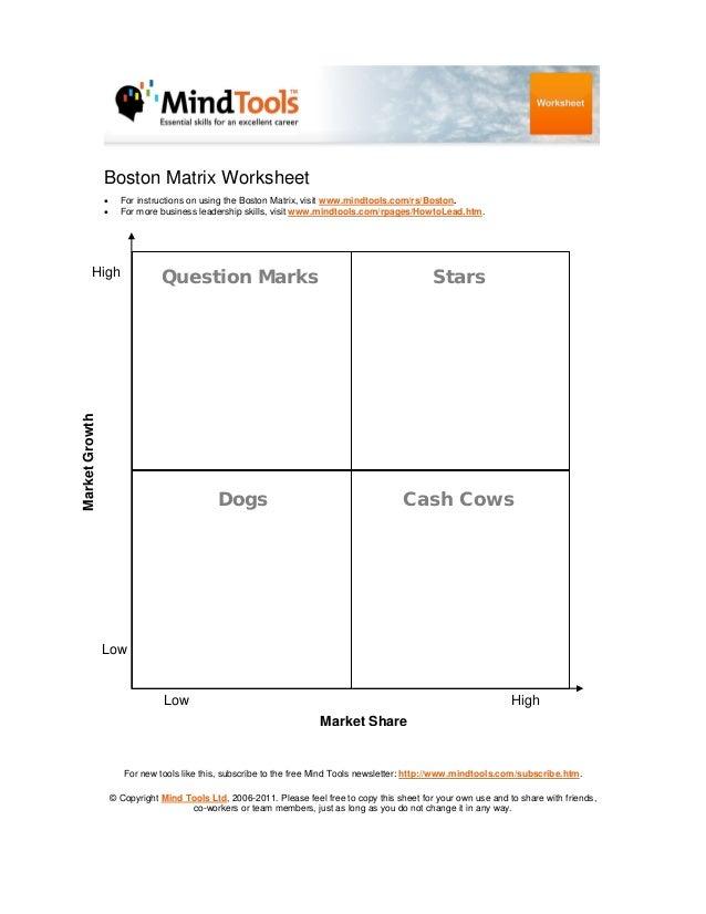 Boston Matrix Worksheet • •  For instructions on using the Boston Matrix, visit www.mindtools.com/rs/Boston. For more busi...