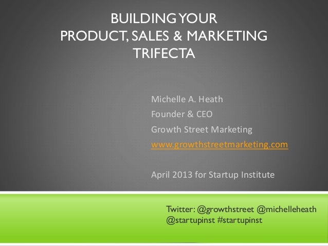 BUILDINGYOUR PRODUCT, SALES & MARKETING TRIFECTA Michelle A. Heath Founder & CEO Growth Street Marketing www.growthstreetm...