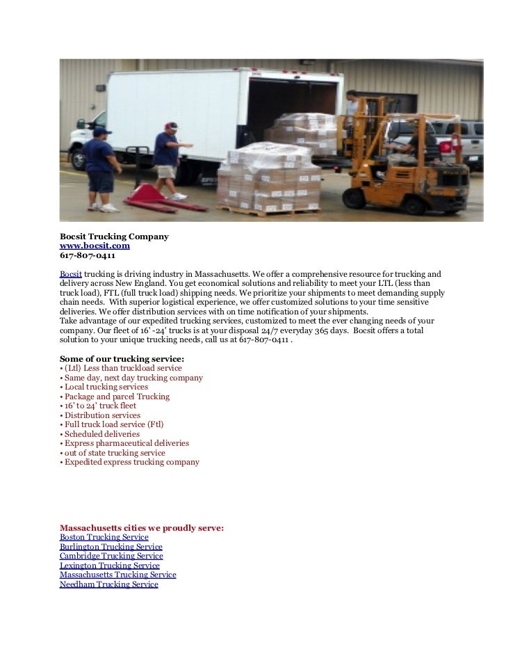 Bocsit Trucking Companywww.bocsit.com617-807-0411Bocsit trucking is driving industry in Massachusetts. We offer a comprehe...