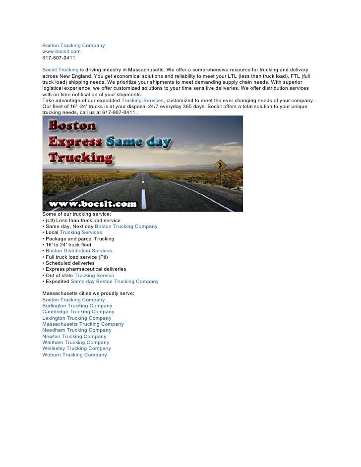 Boston Trucking Companywww.bocsit.com617-807-0411Bocsit Trucking is driving industry in Massachusetts. We offer a comprehe...