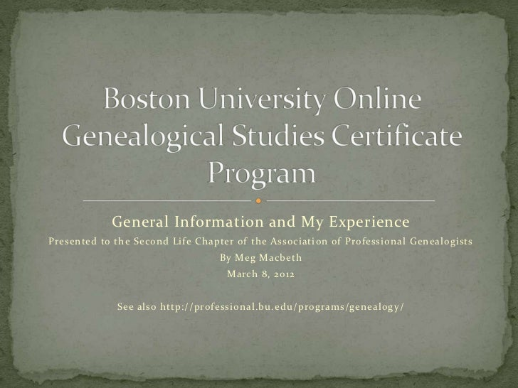 General Information and My ExperiencePresented to the Second Life Chapter of the Association of Professional Genealogists ...