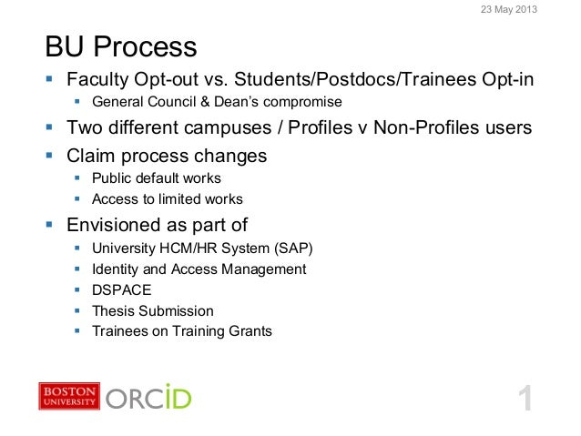 Boston University Slideshow Title Goes HereBU ProcessBU ORCID Integration123 May 2013§  Faculty Opt-out vs. Students/Post...