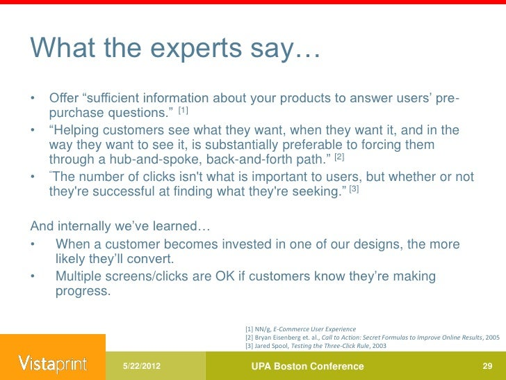 What the experts say…•   Offer ―sufficient information about your products to answer users' pre-    purchase questions.‖ [...