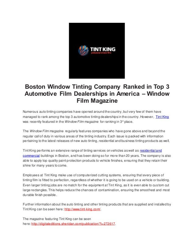 Boston window tinting company ranked in top 3 automotive film dealers…