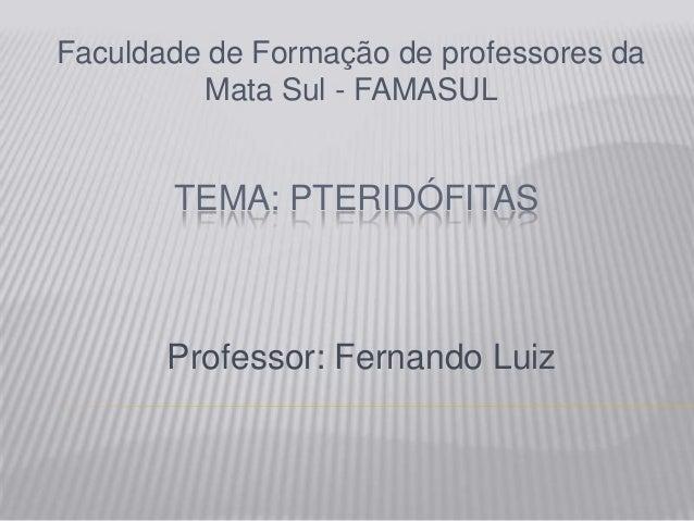 TEMA: PTERIDÓFITASFaculdade de Formação de professores daMata Sul - FAMASULProfessor: Fernando Luiz