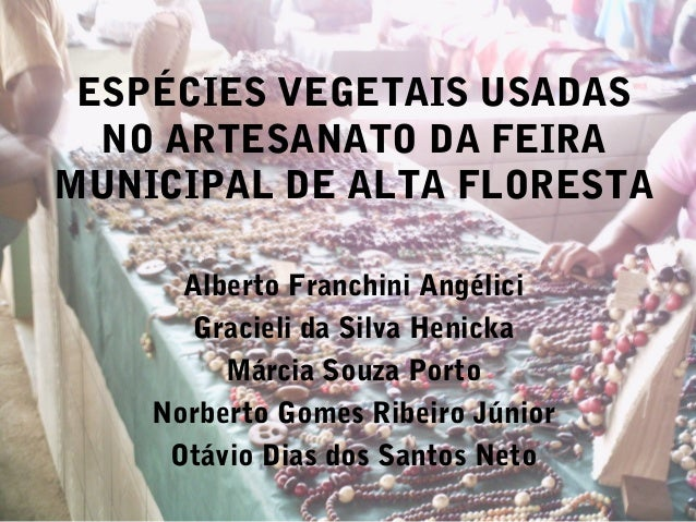 ESPÉCIES VEGETAIS USADASNO ARTESANATO DA FEIRAMUNICIPAL DE ALTA FLORESTAAlberto Franchini AngéliciGracieli da Silva Henick...