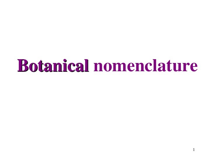 Botanical  nomenclature