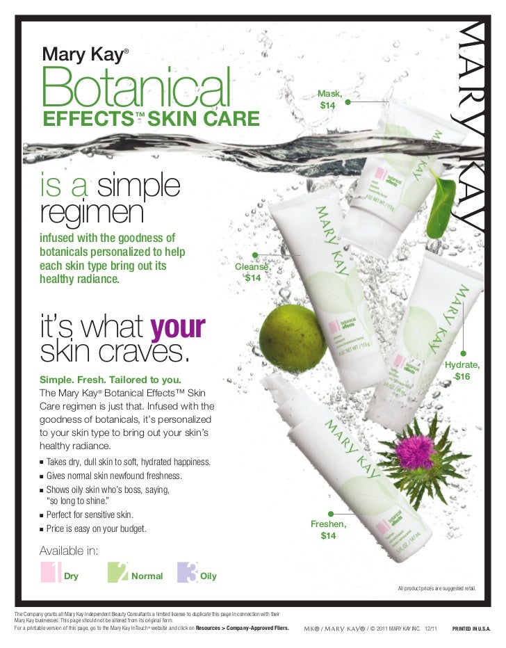 Botanicals Effects Skin Care By Mary Kay