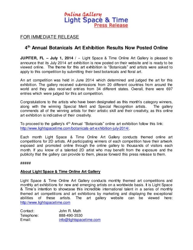 FOR IMMEDIATE RELEASE 4th Annual Botanicals Art Exhibition Results Now Posted Online JUPITER, FL – July 1, 2014 / -- Light...
