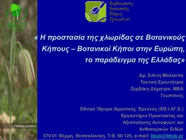 « Η προστασία της χλωρίδας σε Βοτανικούς                     Κήπους – Βοτανικοί Κήποι στην Ευρώπη,                        ...
