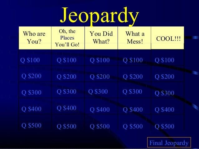 JeopardyWho areYou?Oh, thePlacesYou'll Go!You DidWhat?What aMess! COOL!!!Q $100Q $200Q $300Q $400Q $500Q $100 Q $100Q $100...