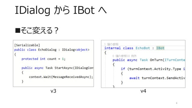 IDialog から IBot へ 6 ◼そこ変える? v3 v4
