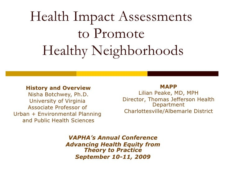 Health Impact Assessments  to Promote  Healthy Neighborhoods History and Overview Nisha Botchwey, Ph.D. University of Virg...