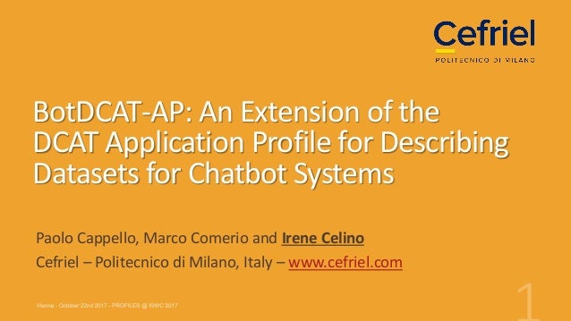 BotDCAT-AP: An Extension of the DCAT Application Profile for Describing Datasets for Chatbot Systems Paolo Cappello, Marco...