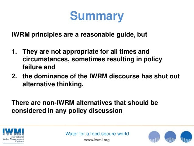principles of integrated water resources managment Good references for learning about iwrm and  integrated water resources management:  principles of integrated water resources management in.