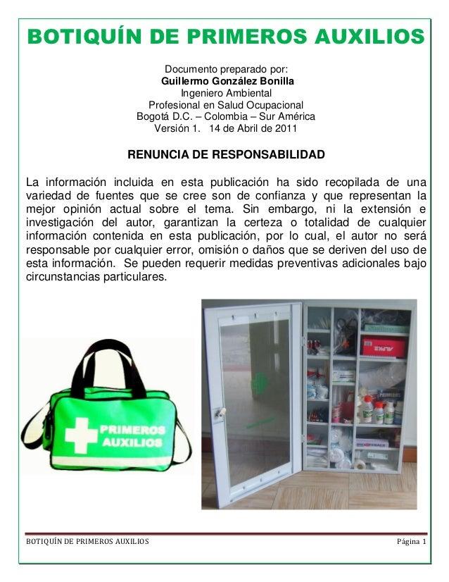 BOTIQUÍN DE PRIMEROS AUXILIOS                               Documento preparado por:                              Guillerm...