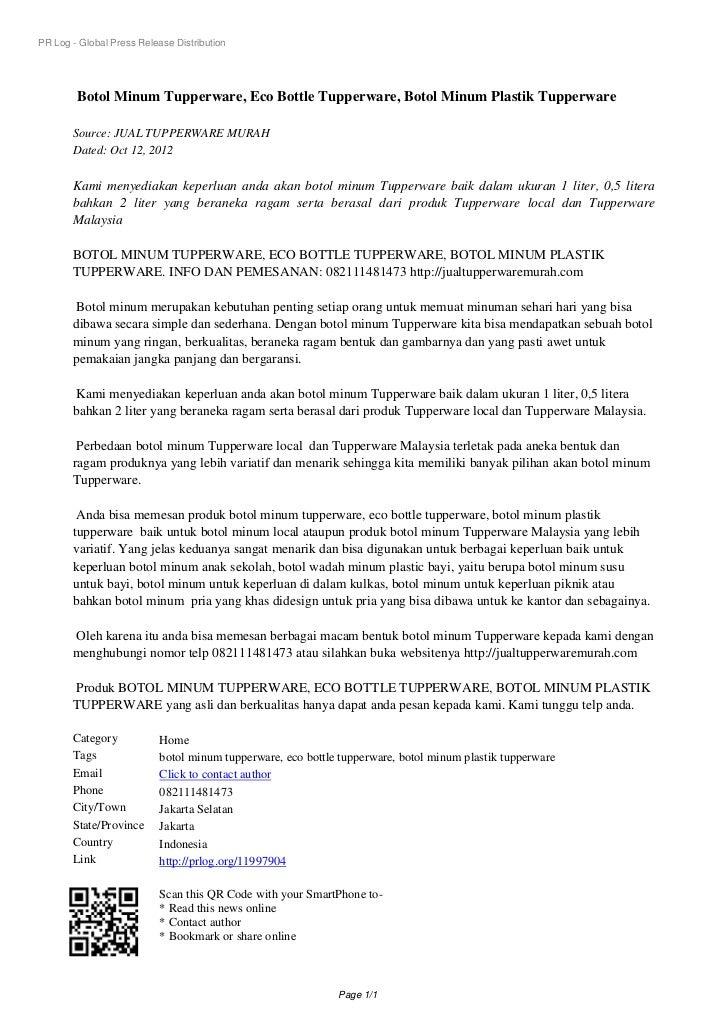 PR Log - Global Press Release Distribution        Botol Minum Tupperware, Eco Bottle Tupperware, Botol Minum Plastik Tuppe...